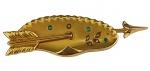 Broche em ouro 18 K, com pedras verdes e vermelhas. Comprimento 5,5 cm. Peso 4,9 gramas.