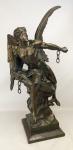 """Picault, Émile Louis (1833-1915) - Bela escultura francesa em petit bronze representando """"La Pensee Brisant Ses Chaines"""". Assinada E. Picault no petit bronze. Artista de cotação internacional e catalogado em diversos livros. Alt. 65cm."""