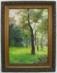 MANUEL TEIXEIRA DA ROCHA - PAISAGEM COM FIGURAS - OSM - 35X26cm. Madeira apresenta colagem e pintura com restauro. Quadro pertenceu a ex coleção da Família do artista.