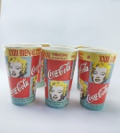 Coca Cola - 6 Copos Promocionais - ''Coca cola é a patrocinadora da Sala Especial Andy Warhol na XXIII Bienal Internacional de São Paulo'' de 1996, medindo 14 cm de altura