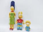 Simpsons - 3 Bonecos do desenhos Simpsons sendo Marge, Bart e Magie, maior medindo 16 cm de altura, conforme fotos