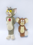 Bonecos sendo TOM & JERRY da década de 90, manufatura Floc, conforme fotos, maior medindo 14,5 cm