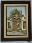 MANOEL FERNANDES  -  Quadro em óleo sobre tela  representando portão da faculdade de Coimbra Portugal,  assinada no canto inferior direito, med. 45 x 31 centímetros sem moldura/ 64 x 49 centímetros com moldura.