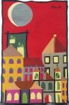 RENOT- tapeçaria feita a mão em lã, representando prédios e casas em noite de luar, assinada no canto superior direito, med. 98 x 64