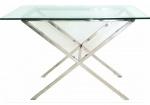 MESA APARADOR - Mesa com estrutura em aço inox, tampo em vidro temperado, med. 65 x 110 x 60 centímetros.