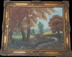 Quadro em óleo sobre tela, representando paisagem, com bela moldura em madeira,  med. 64 x 78 centímetros.