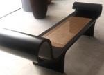 """OSCAR NIEMEYER - """" MARQUESA' BENCH, DESIGNED 1978"""", em madeira ebanizada e acento em palinha natural. Med.: 78 x 2,55 x 55 cm."""