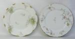 Dois pratos decorativos em porcelana francesa Limoges, com pintura floral em policromia. Diamts. 25 e 24,5cm.