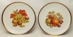 Par de pratos decorativos em porcelana alemã, Bavaria, tendo ao centro frutas em policromia. Borda filetada em dourado. Diam. 19,5cm.
