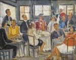 Milton Dacosta (1915 - 1988). CENA DE BAR. 1937. Óleo sobre tela. 40 x 50 cm (mi). 60 x 69 cm (me). Assinado Dacosta 1937 (cid). Moldura original Kaminagai.