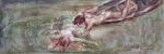 Helios Seelinger (Rio de Janeiro, 1878 - 1965). ENCONTRO ALEGÓRICO EM ALTO MAR. 1949. Aquarela sobre cartão. 14 x 41 cm (mi); 28,5 x 50,5 cm (me). Assinado, localizado e datado Helios Seelinger Rio - 1949 (cid). Moldura nova. Emolduramento moderno, de fácil desmontagem. Raridade.