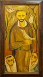 """José de Dome (1921-1982). SÃO FRANCISCO. 1970. Óleo sobre tela. 100 x 50 cm (mi); 115 x 65 cm (me). Assinado, localizado e datado José de Dome / Cabo Frio 04-5-70 (cid). No verso: """"São Francisco"""" / José de Dome / Cabo Frio - 04-5-70 / óleo, tela - 100 x 0,50. RIcamente emoldurado e em perfeito estado de conservação."""
