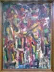 Jorge Guinle (1947-1987). COMPOSIÇÃO. 1981. Óleo sobre tela. 96 x 70 cm (mi); 104 x 79 cm (me). Assinado e datado (cid). Acompanha certificado de autenticidade.