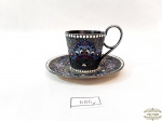 Russia Imperial--Xicara de cafe Russsa  em  prata  esmaltada cloisonne,  tonalidade cinza , azul e branca, sec XlX, , contrastada Gustav Klingert,, ( joalheiro Alemao  que viveu em Moscou sec XlX )  data 1894,  Contrastada  84. Medida xicara 4,5 cm altura x 4,5 cm diametro e pires 9 cm diametro.