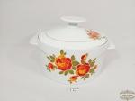 Sopeira  com tampa em porcelana floral  renner decada de 70. Medida 10 cm altuta x 20,5 diametro