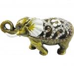 Porta joias/bibelo em metal com pedras cravejadas em forma de elefante. A peça abre para colocação de pequenos objetos. Medida 10 cm.