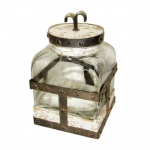 Elemento decorativo em vidro com adorno em metal. Medida 25cm.