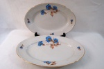 PORCELANA MZ - CZECHOSLOVAKIA - CIRCA 1900  Duas travessas ovais em fina porcelana Tcheca branca, com decoração floral no tom azul,  borda movimentada em alto relevo; friso dourado na base, marca da manufatura na base. Med. maior 4,5 cm X 40 cm X 27 cm (Alt./Comp./Larg.), menor 4 cm X 37 cm X 25 cm (Alt./Comp./Larg.)