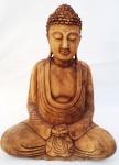 """BUDHA THAI -Escultura indiana ricamente entalhada em bloco de madeira nobre, representando """" """"Buda Thai em posição de lótus"""" """", Med. 42 x 32 x 18 cm."""