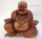 """Escultura indiana ricamente entalhada em bloco de madeira nobre, representando """" Buda """", Med. 25 x 25 x 14 cm."""