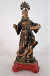 Santo Antonio de Lisboa.  Singela imagem em madeira entalhada e policromada, com resplendor. Cerca 1900. Med. 35 cm altura.