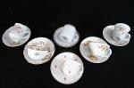 PORCELANA, seis (6) xícaras de coleção para café, decorações e procedências diversas.