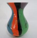 SEGUSO  Vaso em Murano com decoração multicolorida. Assinado e selado na base, década 70. Med. 16 cm alt. Marcado na base . Brasil.