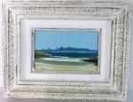"""C. AUGUSTO - ( BRASIL - SÉC . XX) """" Praia de Niterói com vista para o Rio"""", óleo sobre eucatex, emoldurado, assinado no C.I.E. Med. 33 x 42 cm/17 x 25 cm."""