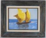 """Paulo Fernando O. Botelho """" Marinha"""", óleo sobre tela, emoldurado, assinado no C.I.D., datado e assinado no verso. Med. 51 x 61 cm/30 x 40 cm"""