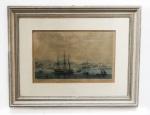 """Antiga gravura colorida """"RIO DE JANEIRO"""" Adolphe d'Hastrel - Vista da cidade, tomada do porto. G. Muller. Envidraçado e emoldurado. Med. 34x22 cm e moldura 42x55 cm."""