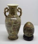 PORCELANA - Oriental Satsuma - Ovo e jarra. Med. 25 cm e 13 cm.