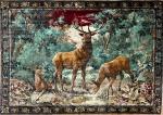 FRANÇA SÉC XIX - Imponente tapeçaria francesa em sêda, representando figuras de cervos na floresta. Mede 1,70 x 1,20 cm.