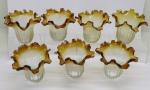 DIVERSOS - Conjunto de 7 cúpulas para lustres em demi cristal bicolor com babados em tom âmbar. Alt. 14 cm. Pequenos bicados.