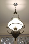 """Grande e antigo lustre lampião de teto com estrutura em bronze e metal espessurado a prata encimado por """"BRASÃO DO IMPÉRIO"""" e cúpula em opalina branca. Século XIX.  Alt. 130 cm. Marcas do tempo."""
