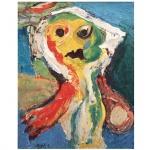 Karel Appel (1921-2006). Personagem. Óleo sobre tela. Assinado, cie. 80 x 65 cm. Acompanha os recibos originais emitidos pela galeria. Christiaan Karel Appel, conhecido como Karel Appel (Amesterdão, 25 de Abril de 1921  Zurique, 3 de Maio de 2006) foi um pintor, designer, artista gráfico, escritor e escultor neerlandês e cofundador do grupo CoBrA, em 1948. Estudou na Rijksakademie van Bee hldende Kunsten (1940-1943), onde se tornou amigo de Guillaume Corneille, seu futuro companheiro no CoBrA. Appel viveu em Paris, a partir do início da década de 1950; em Nova Iorque, na década seguinte, na Itália e na Suíça, onde faleceu. Appel pintou também retratos de músicos de jazz e executou vários trabalhos públicos, incluindo um mural na sede da UNESCO em Paris. Seus primeiros trabalhos lembram a pintura do realista neerlandês George Hendrik Breitner (1857- 1923), porém, já à época da Segunda Guerra Mundial, volta-se para o Expressionismo alemão e principalmente para o trabalho de van Gogh. Há um ponto de inflexão no estilo de Appel, por volta de 1945, quando encontra inspiração na Escola de Paris, particularmente em Matisse, Jean Dubuffet e Picasso; essa influência, que deverá persistir até 1948, pode ser observada, por exemplo, em uma série de esculturas de gesso dessa época. A partir de 1947, seu colorido universo pessoal será constituído de seres simples, infantis e animais amistosos, que povoam suas pinturas, desenhos, esculturas de madeira pintada. Seu senso de humor chega ao ápice em grotescas montagens, relevos em madeira e pinturas como Hip, Hip, Hooray (1949) (Galeria Tate de Londres).