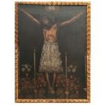 Cristo de Los Temblores (Terremotos) Com moldura. Óleo sobre tela. Pintura Andina do Séc. XVII. 169 cm de altura com moldura e 124 cm de largura com moldura.