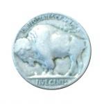 Moeda five cents U.S.A. 2 cm de diâmetro.