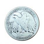 Moeda em prata Half Dolllar. 1942. 3 cm de diâmetro.