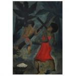 Antônio Gomide (1895-1967). Figuras. Óleo sobre madeira. Assinado, cie. 54 x 36 cm.