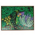 Lia Mittarakis (1934-1998). Floresta. Óleo sobre eucatex. Assinado, cie e datado 1991. 54 x 73 cm.
