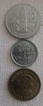 Três medas, dez centavos Monolito de Quirigua 1991 Rep. Guatemala , cinco  centavos 1992 e um centavos 1991 .
