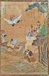 CHINA, MARCA E PERÍODO QIANLONG (1711-1799) - Muito rara pintura sobre seda dourada retratando cena do lendário FESTIVAL DO PÊSSEGO (Peach Festival) com panteão de imortais e divindades taoístas em um terraço com jardim e pessegueiros. Possui 3 selos vermelhos sendo um deles o selo QIANLONG OVAL. Na lateral texto em preto. Manchas do tempo e oxidações. ITEM RARO. Med. 95 x 60 cm. #qianlong #chineseemperor #qianlongpainting #chinesepainting #pinturachinesa #chineseart #artofchina #auction #subasta #rare