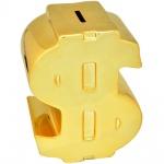 Cofre de porcelana na forma de cifrão e na cor dourado. Medida 12x26cm.