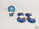 Jogo de 5 Xicaras de café em Porcelana Oriental Satsuma. tonalidade azul. Medida: Xicaras 5 cm altura x 4,5 cm diametro e Pires 9,5 cm diametro.
