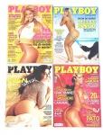 Lote contendo 4 revistas Playboy, década de 90/2000.