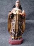 ARTE SACRA Magnífica imagem de Santa Edwiges em madeira policromada - Brasil - Século. XX. Leve trincado na base. Altura aproximada 60 cm.