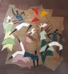 TILDE BONICELLI - Ceramista Italiana, ativa nos anos 50/60 - Participou de Bienais - Com obras em prédios públicos e grandes coleções particulares -  Painel de azulejos -  representando DANÇARINOS DE FREVO - Assinado pela artista . Medidas . 240x210 cm.