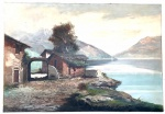CASATI - Belíssimo quadro de óleo sobre tela representando paisagem com casa e montanhas ao fundo. Em ótimo estado. Apresenta pequeno furo no canto superior esquerdo. Medida: 69x100 cm.