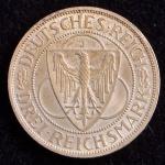 Rara Moeda Estrangeira, ALEMANHA - REPÚBLICA de WEIMAR, Valor 3 Reichsmark, Ano 1930 J, Prata, Flor de Cunho..