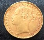 Moeda da INGLATERRA, Rainha Victória, Valor 1 Libra, Ano 1885, Ouro, Peso 8 g, Diâmetro 22 mm, Soberba.
